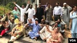 مسلم لیگ ن کے کارکنوں کا رہائش گاہ کے باہر احتجاجی مظاہرہ