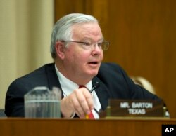 FILE - Rep. Joe Barton (R-Texas) speaks during a hearing on Capitol Hill in Washington, April 1, 2014. Barton has acknowledged sharing a nude photo of himself with an unidentified lover.