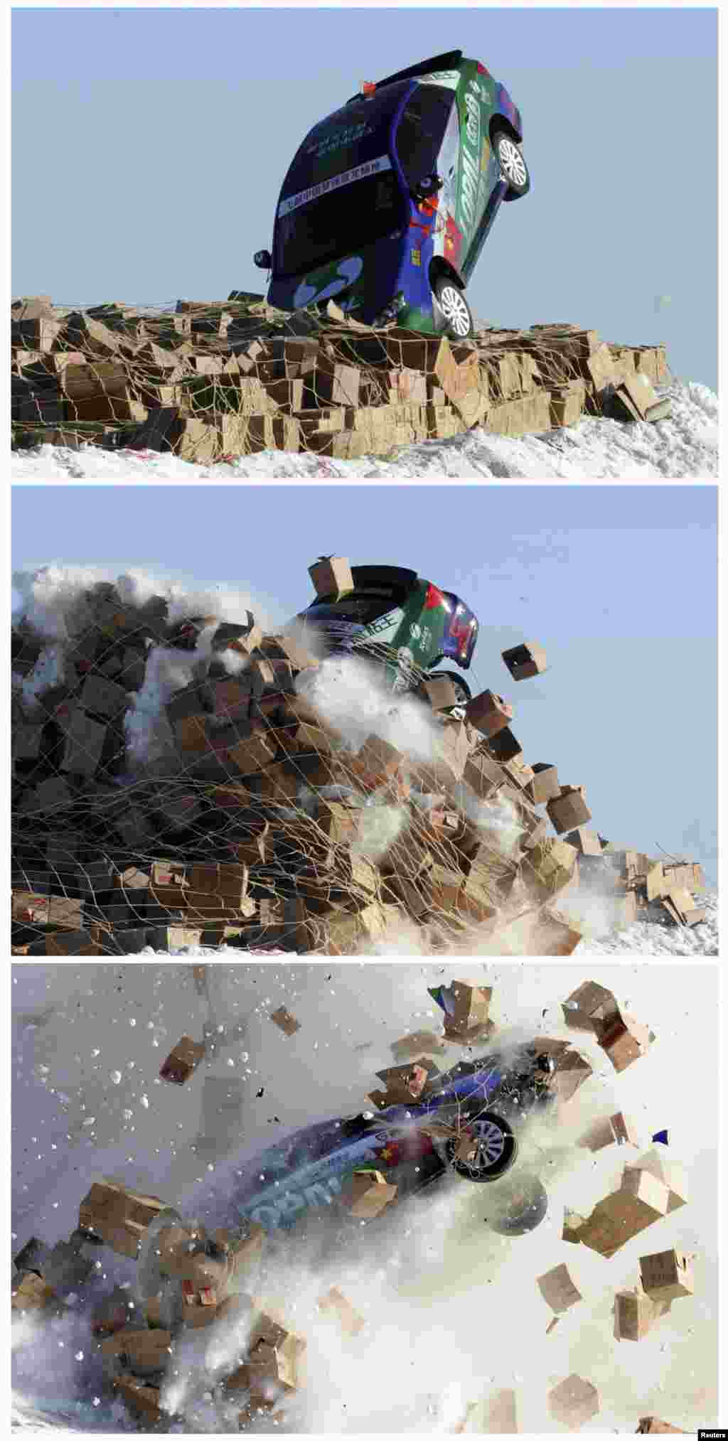 A combination picture shows a car, driven by stunt driver Xie Yujun, hitting carton boxes upon landing after it leaped over a section of the frozen Songhua River in Heihe, Heilongjiang province, near the border of China and Russia.Xie successfully leaped over an approximately 40 m (131 ft) wide section of the Songhua River where temperatures hit - 40°C (- 40°F), local media reported.