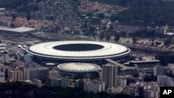 FILE - Maracanã Stadium is shown in this aerial view, in Rio de Janeiro, Brazil, Oct. 9, 2015.