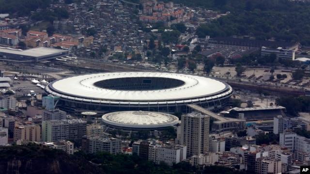 FILE - Maracanã Stadium is shown in this aerial view, in Rio de Janeiro, Brazil, Oct. 9, 2015.