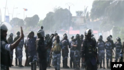 Police in the Rio district of Libreville, Gabon, on aughust 31 2016.