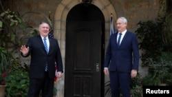 美國國務卿蓬佩奧在耶路撒冷會晤以色列藍白黨領導人甘茨。(2020年5月13日)