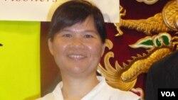 金尧如新闻自由奖的评审委员之一的香港记协主席麦燕庭(美国之音容易拍摄)