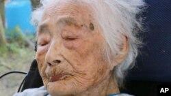 117세로 숨진 일본인 다지마 나비 씨의 2015년 모습