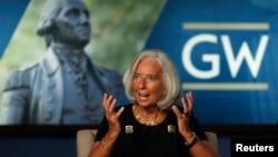 國際貨幣基金組織總裁拉加德﹐ 10月3日在喬治華盛頓大學講話。