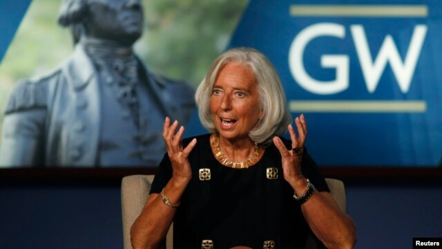 International Monetary Fund chief Christine Lagarde speaks about the upcoming IMF and World Bank meetings, at George Washington University in Washington, October 3, 2013.