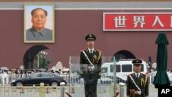 在北京天安門廣場上值勤的武警士兵(資料照片)