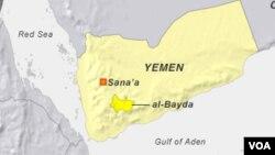 Lokasi provinsi al-Bayda di Yaman selatan (foto: dok).