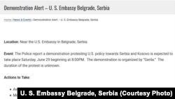 Upozorenje na najavljeni prostest koje je na internet stranici objavila ambasada SAD u Beogradu