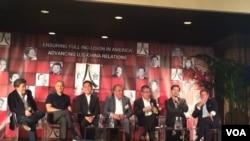 """2016年4月""""百人会""""举行年会,好莱坞电影制作人在讨论好莱坞与中国。(斯洋拍摄)"""