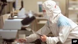 """芯片技術人員在台灣聯華電子公司(UMC)的""""潔淨室""""測試設施檢查矽片。"""