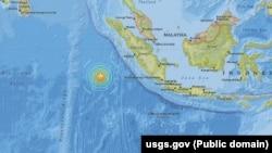 Peta lokasi gempa bumi di wilayah barat daya Sumatera.