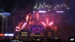 香港的煙花表演慶祝踏入2013年
