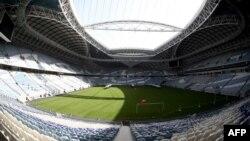 Stadion Al-Wakrah (Stadion Al-Janoub), salah satu stadion untuk pertandingan Piala Dunia yang dirancang arsitek Inggris Zaha Hadid, sekitar 15 km dari ibu kota Qatar, Doha, 28 Maret 2019. (Foto: AFP)