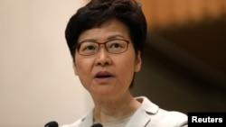 香港特首林鄭月娥在區議會選舉後對媒體講話。 (2019年11月26日)
