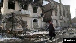 2015年2月14日乌克兰涅茨克附近乌格列戈尔斯克损坏的建筑