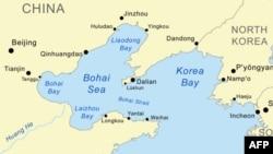 Bản đồ khu vực Biển Bột Hải gần Triều Tiên.