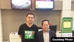 吾爾開希與何俊仁律師在台北起飛前 (圖片由何俊仁律師提供)