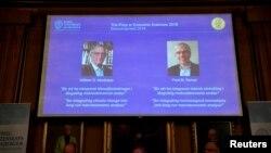 Profesori Vilijam Nordhaus i Pol Romer, dobitnici Nobelove nagrade za ekonomiju