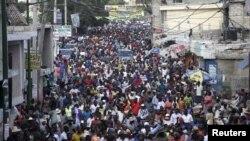 Manifestation pour la démission du président Martelly, le 23 janvier 2016 à Port-au-Prince. (REUTERS/Andres Martinez Casares)