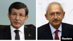 A combination of file pictures shows leaders of Turkish political parties Prime Minister Ahmet Davutoglu of AK Party, (top L), Kemal Kilicdaroglu of the main opposition Republican People's Party (CHP), Devlet Bahceli of Nationalist Movement Party (MHP), S