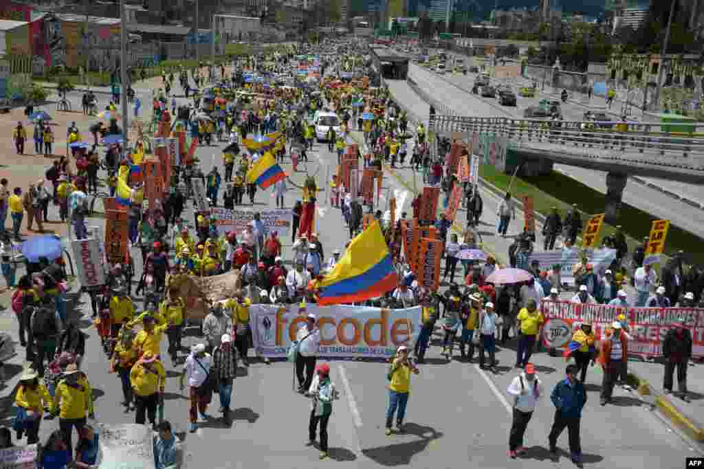 Thousands of public school teachers march in Bogota demanding better pay and reforms in the education system. Last week, Colombia's public education teachers began a nationwide indefinite strike. A move that affects about nine million students and is rejected by the government.