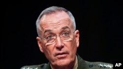美軍參謀長聯席會議主席鄧福德將軍週二在參議院聽證會上。