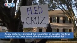 VOA60 Ameerikaa - Angry protesters demand the resignation of Senator Ted Cruz