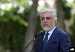 Abdullah Abdullah, Chairman of the High Council for National Reconciliation, speaks during a press conference in Kabul, Afghanistan, May 30, 2020.