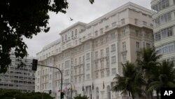 Hotel Copacabana Palace di Rio de Janeiro, Brasil, April 9, 2020.