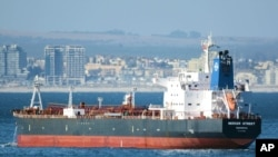 FILE - The Liberian-flagged oil tanker Mercer Street is seen off Cape Town, South Africa, Jan. 2, 2016. The oil tanker linked to an Israeli billionaire reportedly came under attack off the coast of Oman in the Arabian Sea, authorities said July 30, 2021.