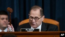 House Judiciary Committee Chairman Rep. Jerrold Nadler, D-N.Y., gavels a recess of a House Judiciary Committee markup of the articles of impeachment against President Donald Trump.