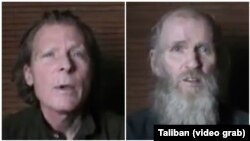 Timothy Weeks of Australia, left and American Kevin King (photo taken from video sent to VOA from Taliban).