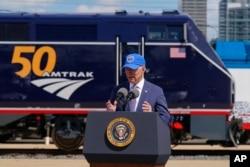President Joe Biden speaks during an event to mark Amtrak's 50th anniversary at 30th Street Station in Philadelphia, April 30, 2021.