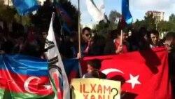 """Mitinq iştirakçıları """"Cəmil bəy"""" şuarları səsləndiriblər"""