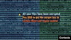 En esta ilustración se muestra un mensaje de supuestos piratas cibernéticos informando al usuario de que el contenido de su computadora ha sido secuestrada. [Foto de archivo]