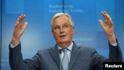 Michel Barnier, négociateur en chef de l'Union européenne pour Brexit, tient une conférence de presse à Bruxelles, Belgique, le 25 février 2020. (Reuters)
