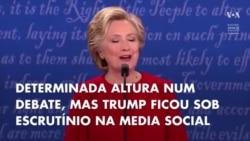 Trump criticado na media social por interromper Hillary Clinton no debate