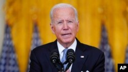 President Joe Biden speaks about Afghanistan from the East Room of the White House, Aug. 16, 2021.