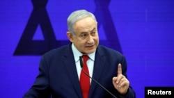 Umushikiranganji wa mbere wa Isirayeli Benjamin Netanyahu ashikiriza ijambi i Ramat Gan, hafi ya Tel Aviv, Israeli, kw'itariki 10/09/2019.