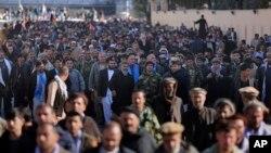 کابل میں عبداللہ عبداللہ کے حامیوں کا مظاہرہ۔ 29 نومبر 2019