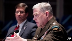 Tướng Mark Milley (phải) trong một lần điều trần trước Quốc Hội Hoa Kỳ. Hình minh họa.