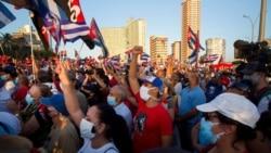 古巴政府舉行支持政府集會對抗抗議活動