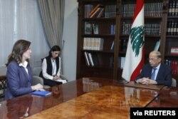 Lebanon's President Michel Aoun meets with U.S. Ambassador to Lebanon Dorothy Shea, at the presidential palace in Baabda, Lebanon, Aug. 16, 2021.
