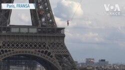Paris'te 70 Metre Yükseklikte Heyecanlı Anlar