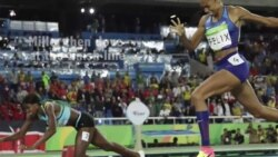 Rio 16- Shaunae Miller dives to win the 400 meter women's race
