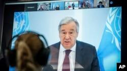 COVID ေၾကာင့္ ကုလသမဂၢ အတြင္းေရးမွဴးခ်ဳပ္ Antonio Guterres ဗီြဒီယို ကြန္ဖရန္႔ျဖင့္ မိန္႔ခြန္းေျပာ