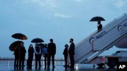 토니 블링컨 미국 국무장관이 27일 인도 뉴델리 팔람공항에 도착했다.