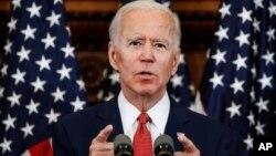 Democratic presidential candidate, former Vice President Joe Biden speaks in Philadelphia, June 2, 2020.